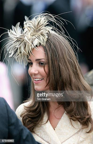 Kate Middleton girlfriend of Prince Willliam arrives for the marriage of Laura ParkerBowles and Harry Lopes at St CyriacOs Church Lacock on May 6...
