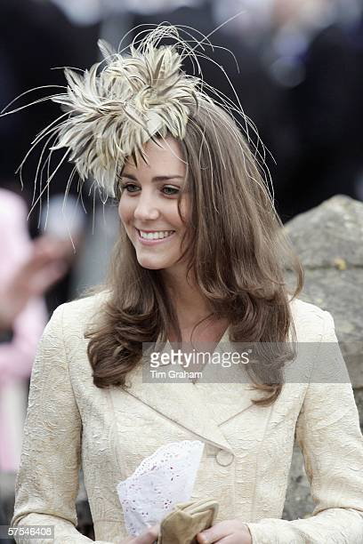 Kate Middleton girlfriend of Prince Willliam attends as wedding guest at the marriage of Laura ParkerBowles and Harry Lopes at St Cyriac's Church...