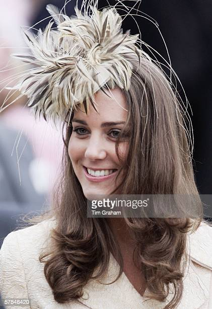 Kate Middleton girlfriend of Prince Willliam attends the marriage of Laura ParkerBowles and Harry Lopes at St CyriacOs Church Lacock on May 6 2006 in...
