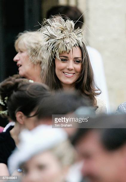 Kate Middleton girlfriend of Prince Willliam looks on at the marriage of Laura ParkerBowles and Harry Lopes at St Cyriac's Church Lacock on May 6...