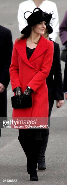 Kate Middleton HRH Prince William's girlfriend attends the Sovereign's Parade at the Royal Military Academy Sandhurst to watch the Passing Out Parade...