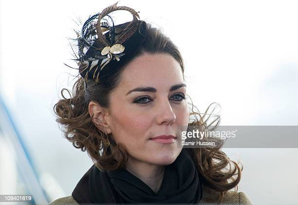 Kate Middleton looks on as her and Prince William officially launch the new RNLI lifeboat 'Hereford Endeavour' at Trearddur Bay, Anglesey on February...