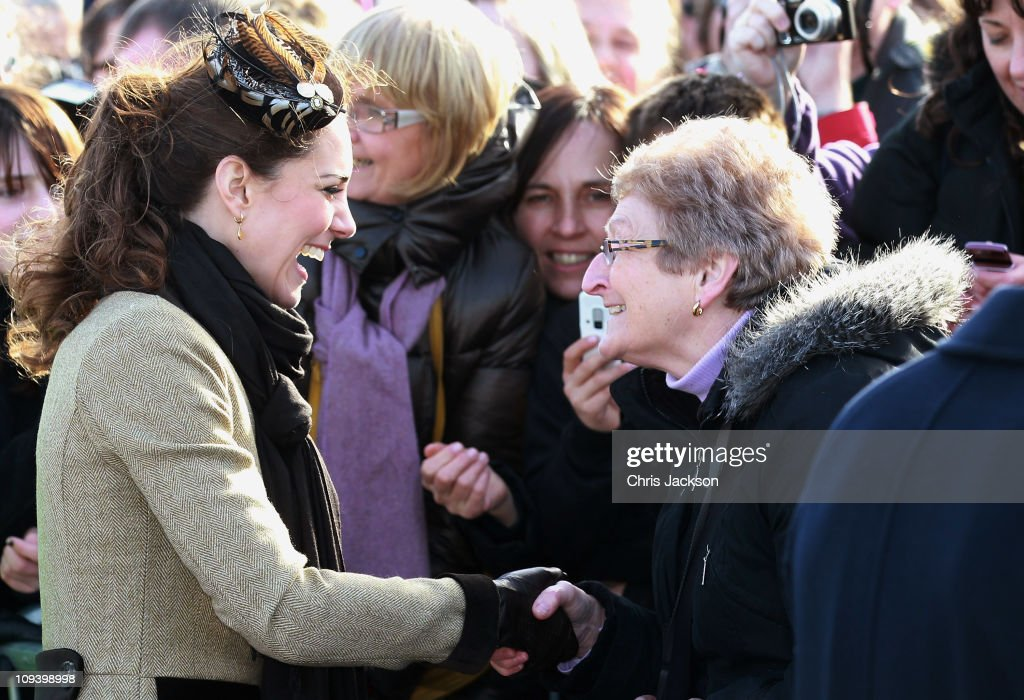 Kate Middleton meets members of the public as she visits Trearddur Bay Lifeboat Station at Anglesey with her fiance Prince William on February 24, 2011 in Trearddur, Wales. The newly engaged couple named the Trearddur Bay Lifeboat Station's new Atlantic 85 inshore lifeboat the 'Hereford Endeavour.' The vessel was launched during the naming ceremony and the crew demonstrate some of her rescue capabilities. The country is gearing up for the much anticipated wedding of the couple scheduled to take place on April 29, 2011 at Westminster Abbey in London.