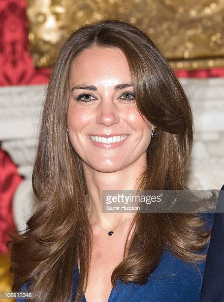 Kate Middleton poses for photographs in the State Apartments of St James Palace on November 16 2010 in London England After much speculation Clarence...