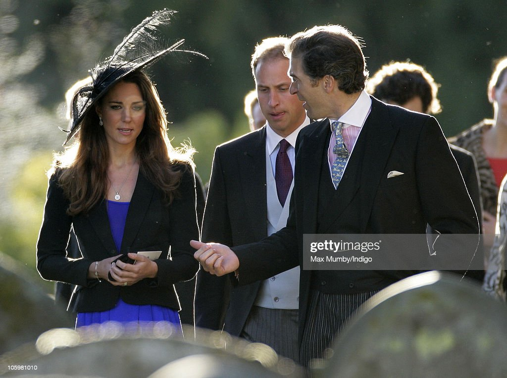 Kate Middleton, Prince William and Edward van Cutsem attend Harry Meade & Rosie Bradford's wedding at the Church of St. Peter and St. Paul, Northleach, on October 23, 2010 in Cheltenham, England.