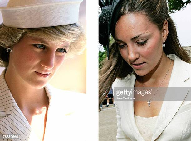 In this photo composite image a comparison has been made between Left LA SPEZIA ITALY APRIL 20 Diana Princess Of Wales In La Spezia During A Tour Of...