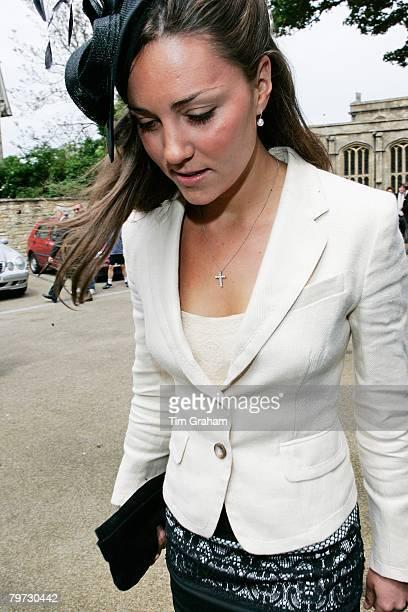 Kate Middleton Prince William's girlfriend among guests at the society wedding of Hugh Van Cutsem Junior to Rose Astor at Burford Parish Church