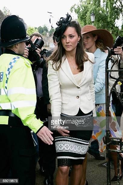 Kate Middleton Prince William's girlfriend arrives at the society wedding of Hugh Van Cutsem Junior to Rose Astor at Burford Parish Church on June 4...
