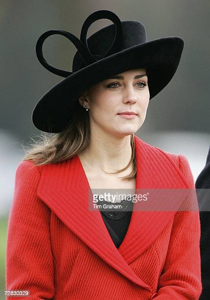 Kate Middleton, Prince William's girlfriend, attends the Sovereign's Parade at Sandhurst Military Academy to watch the passing-out parade on December...