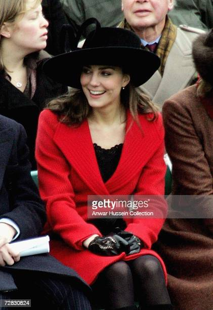 Kate Middleton Prince William's girlfriend attends the Sovereign's Parade at the Royal Military Academy Sandhurst to watch the Passing Out Parade on...
