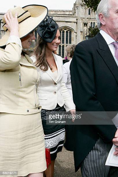 Kate Middleton Prince William's girlfriend chats and laughs with friends and guests at the society wedding of Hugh Van Cutsem Junior to Rose Astor at...