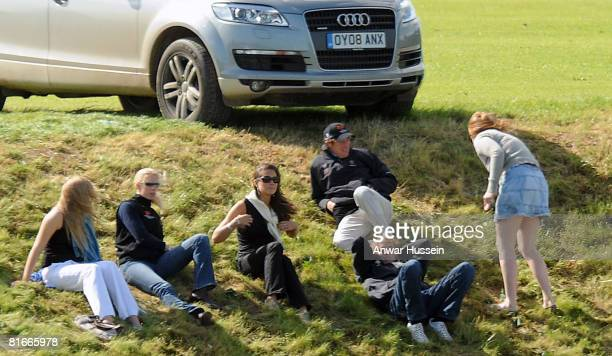 Kate Middleton relaxes with friends as she watches Prince William take part in a charity polo match at the the Beaufort Polo Cub on June 22 2008 in...