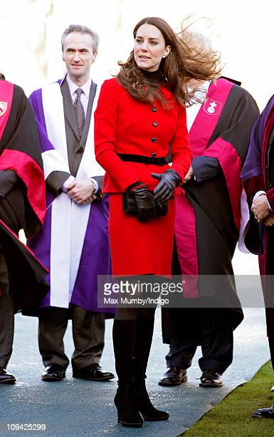 Kate Middleton visits the University of St Andrews as part of it's 600th anniversary celebrations at University of St Andrews on February 25 2011 in...