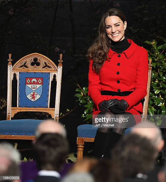 Kate Middleton visits the University of St Andrews with Prince William on February 25 2011 in St Andrews Scotland The couple returned to the...