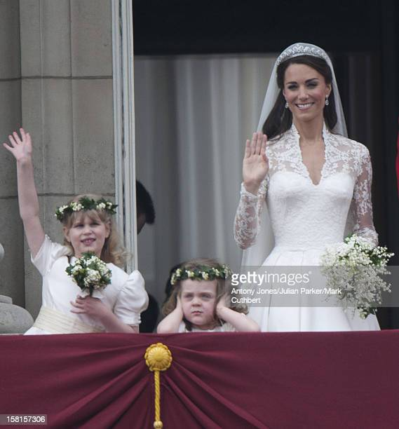 Kate Middleton Who Has Been Given The Title Of The Duchess Of Cambridge On The Balcony Of Buckingham Palace London With Bridesmaids Grace Van Cutsem...