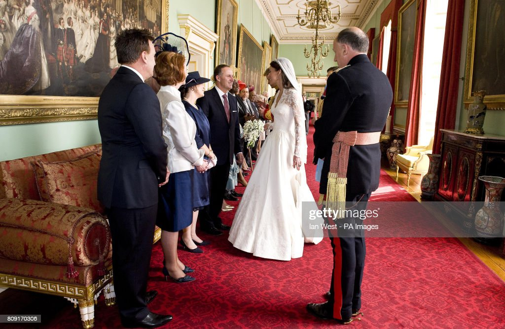 Kate Middleton, who has been given the title The Duchess of Cambridge meets the Prime Minister of New Zealand John Key and Mrs Bronagh Key at Buckingham Palace in London after her wedding to Prince William.