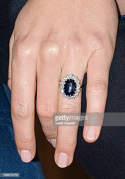 Kate Middleton's engagement ring is seen on Kate Middleton's and hand as Prince William and Kate Middleton officially announce their engagement at St...
