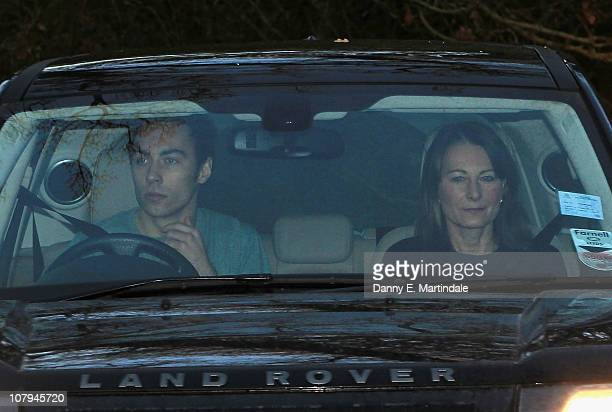 Kate Middleton's mother Carole Middleton and brother James Middleton is sighted leaving their home on January 9 2011 in Bucklebury Berkshire