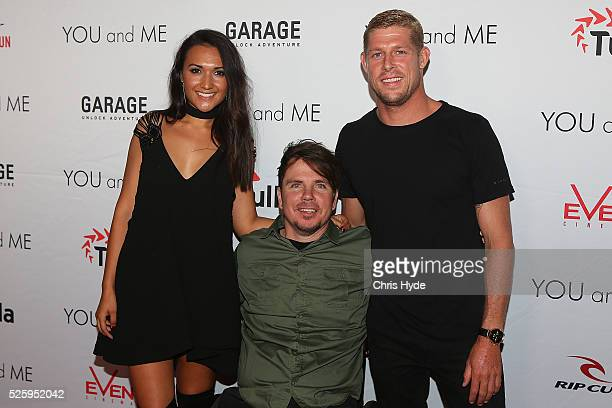 Kate Miller Barney Miller and Mick Fanning arrive ahead of Gold Coast premiere of 'YOU and ME' at Event Cinemas Pacific Fair on April 29 2016 in Gold...