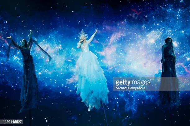 Kate MillerHeidke representing Australia performs live on stage during the 64th annual Eurovision Song Contest held at Tel Aviv Fairgrounds on May 18...