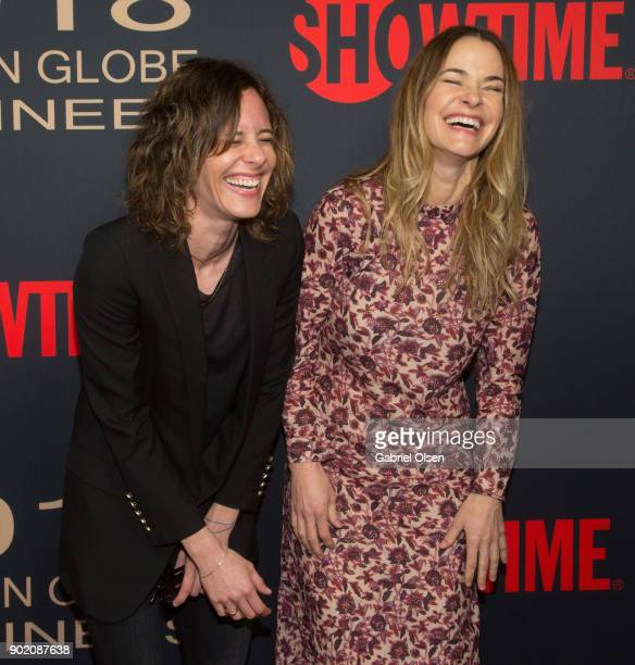 Kate Moennig and Leisha Hailey arrive for the Showtime Golden Globe Nominees Celebration at Sunset Tower on January 6 2018 in Los Angeles California