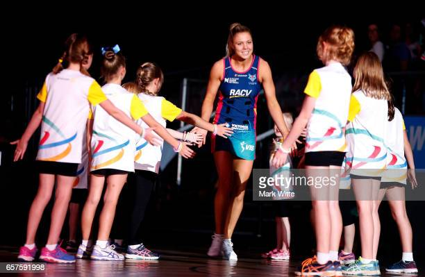 Kate Moloney of Melbourne Vixens gets introduced onto the court during the round six Super Netball match between the Vixens and the Giants at Hisense...