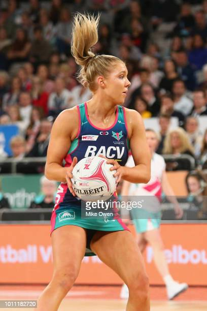 Kate Moloney of the Vixens controls the ball during the round 14 Super Netball match between the Vixens and the Lightning at Hisense Arena on August...