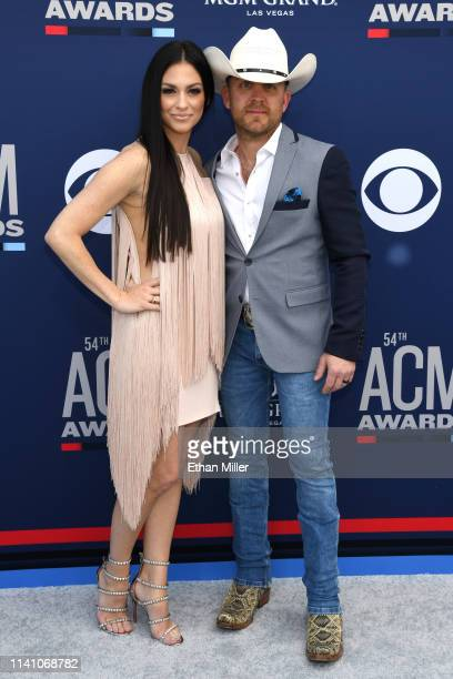 Kate Moore and Justin Moore attends the 54th Academy Of Country Music Awards at MGM Grand Hotel Casino on April 07 2019 in Las Vegas Nevada