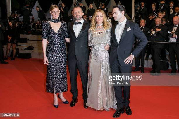 Kate Moran Yann Gonzalez Vanessa Paradis and Nicolas Maury attend the screening of 'Knife Heart ' during the 71st annual Cannes Film Festival at...