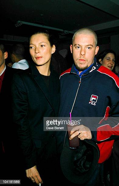 """Kate Moss And Alexander McQueen attend the opening of """"Pharmacy"""" restaurant in Notting Hill in February 1997 in London, England. Katemossretro"""
