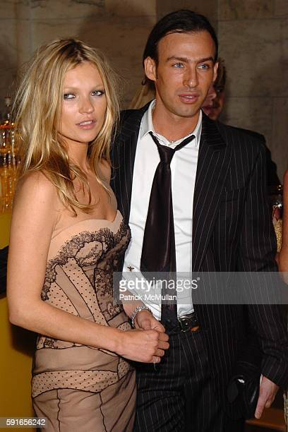 Kate Moss and Alexis Roche attend The 2005 CFDA Fashion Awards at The New York Public Library on June 6 2005 in New York City