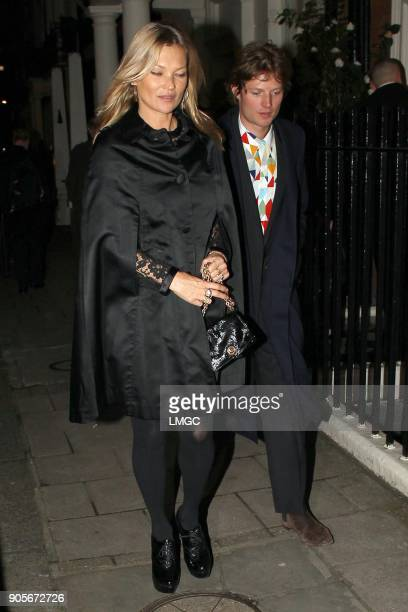Kate Moss and Count Nikolai von Bismarck arrive to celebrate her 44th birthday at Mark's Club in Mayfair on January 16 2018 in London England