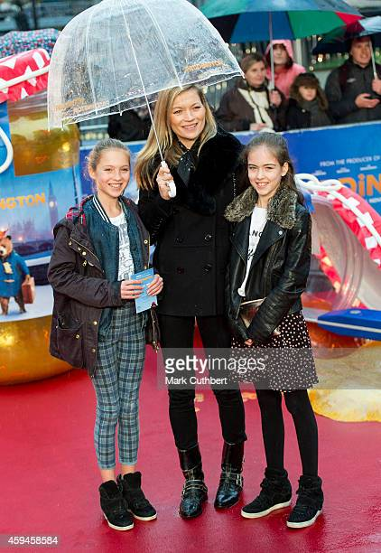 Kate Moss and daughter Lila Grace attend the World Premiere of 'Paddington' at Odeon Leicester Square on November 23 2014 in London England