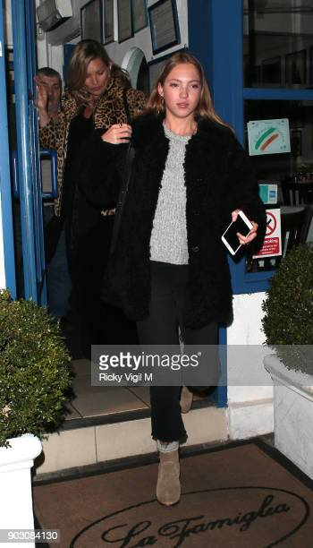 Kate Moss and daughter Lila Grace Moss Hack attend Lottie Moss Birthday at La Famiglia restaurant in Chelsea on January 9 2018 in London England