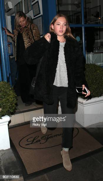 Kate Moss and daughter Lila Grace Moss Hack attend Lottie Moss' birthday at La Famiglia restaurant in Chelsea on January 9 2018 in London England