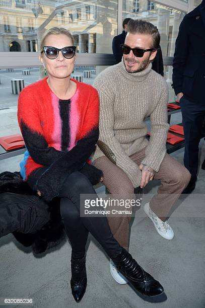 Kate Moss and David Beckham attend the Louis Vuitton Menswear Fall/Winter 20172018 show as part of Paris Fashion Week on January 19 2017 in Paris...