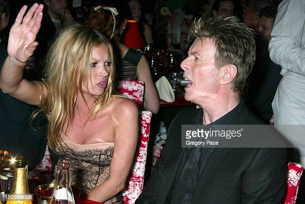 Kate Moss and David Bowie during 2005 CFDA Fashion Awards Inside the Dinner Green Room Departures at New York Public Library in New York City New...
