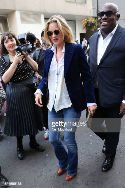 Kate Moss and Edward Enninful attend Richard Quinn at The Londoner Hotel during London Fashion Week September 2021 on September 21, 2021 in London,...