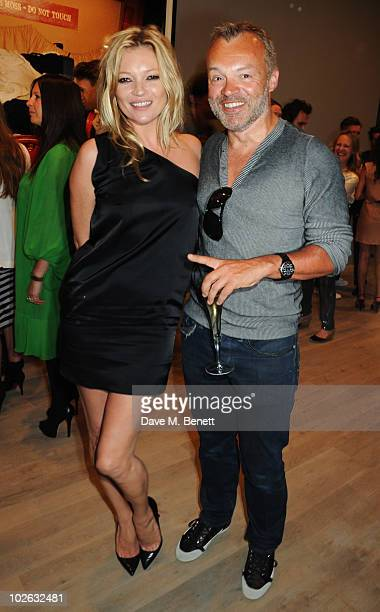 Kate Moss and Graham Norton attend the private view of 'Mario Testino Kate Who' at Phillips de Pury Company on July 5 2010 in London England