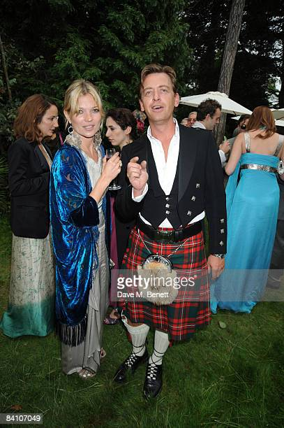 Kate Moss and Guest attend the wedding reception of Leah Wood and Jack MacDonald at Holm Wood on June 21 2008 in London England