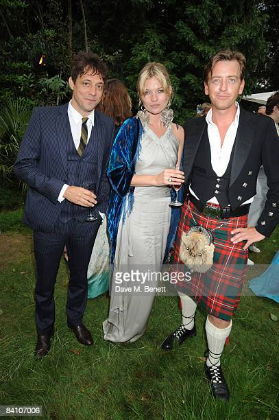 Kate Moss and Guests attend the wedding reception of Leah Wood and Jack MacDonald at Holm Wood on June 21 2008 in London England