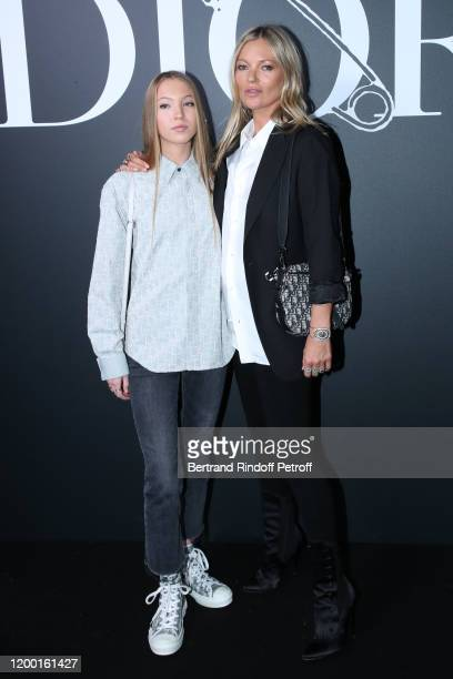 Kate Moss and her daughter Lila Grace Moss Hack attend the Dior Homme Menswear Fall/Winter 20202021 show as part of Paris Fashion Week on January 17...
