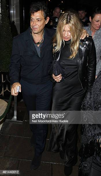 Kate Moss and Jamie Hince seen arriving at Claridges on January 12 2015 in London England