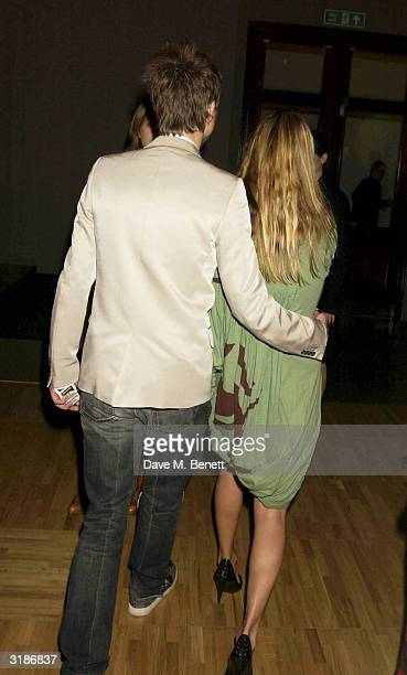 Kate Moss and Jefferson Hack attend the Vivienne Westwood Private View of new retrospective show at the VA Museum on March 30 2004 in London The show...