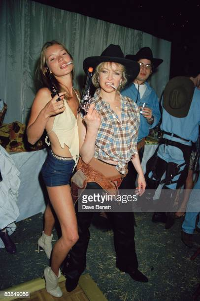 Kate Moss and Jo Wood at Ronnie Wood's 50th birthday party in Kingston upon Thames London 31st May 1997 The theme of the party is the Wild West