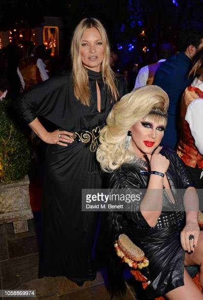 Kate Moss and Jodie Harsh attend the Annabel's Art Auction fundraiser in aid of Teenage Cancer Trust Teen Cancer America at Annabel's on November 7...