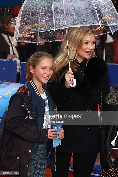 Kate Moss and Lila Grace Moss attend the premiere of Paddington at Odeon Leicester Square on November 23 2014 in London England