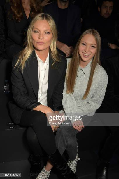 Kate Moss and Lila Moss attend the Dior Homme Menswear Fall/Winter 2020-2021 show as part of Paris Fashion Week on January 17, 2020 in Paris, France.