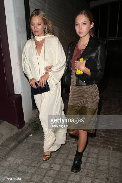 Kate Moss and Lila Moss seen celebrating designer Kim Jones birthday party at Laylow on September 11 2020 in London England