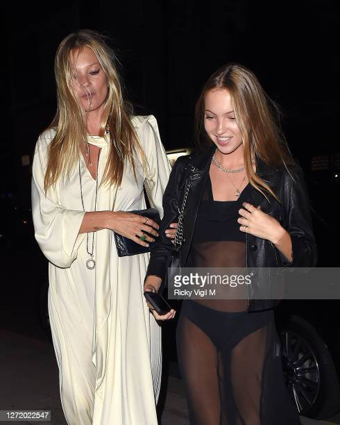 Kate Moss and Lila Moss seen celebrating designer Kim Jones birthday party at Laylow on September 11, 2020 in London, England.